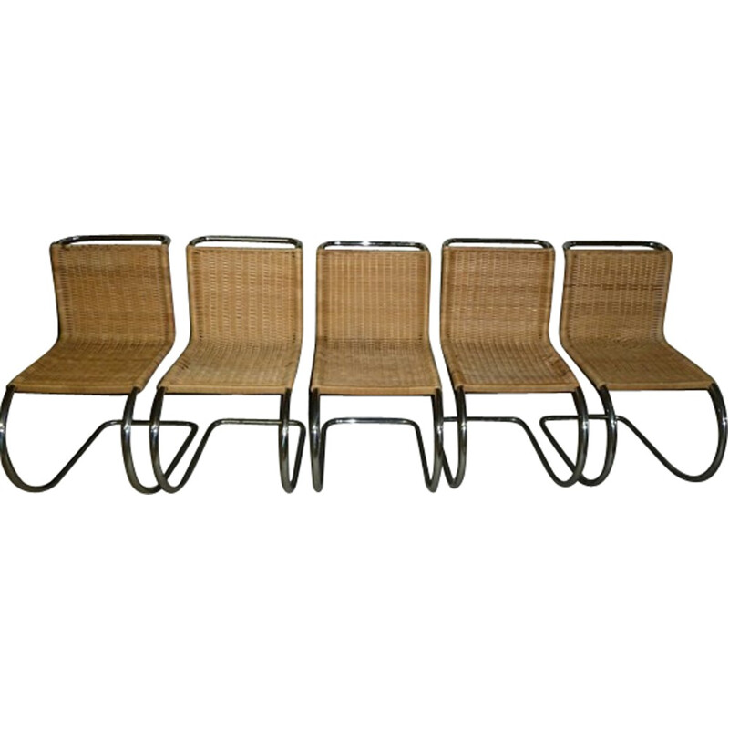 "Set of 5 ""MR10"" rattan chairs by Mies van der Rohe for Stendig - 1960s"