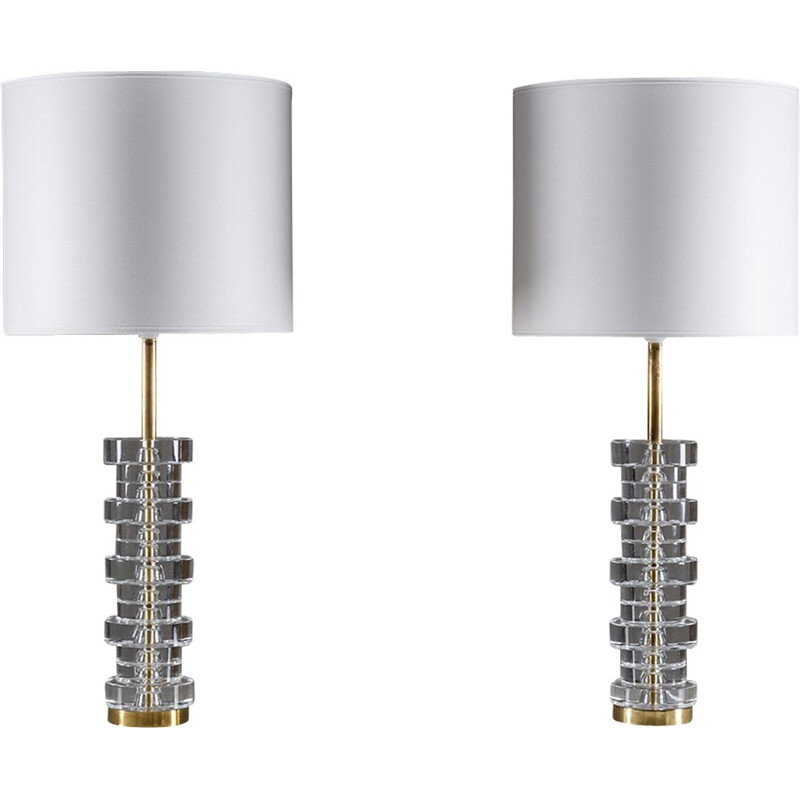 Pair of Large Swedish Table Lamps by Carl Fagerlund for Orrefors - 1960s