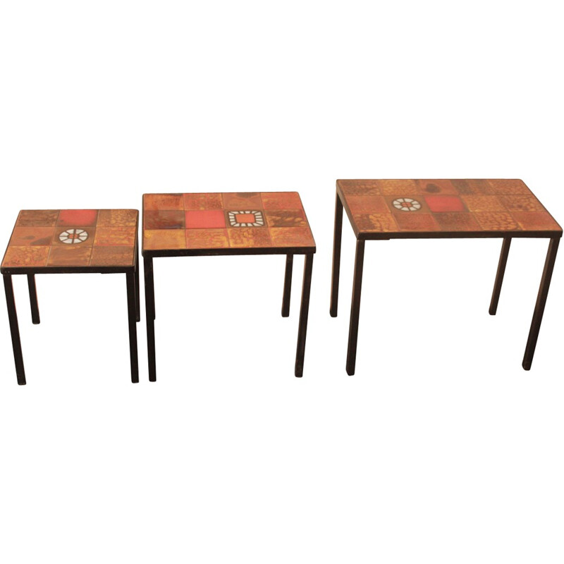 Set of 3 side tables by the workshop la Roue de Vallauris - 1950s
