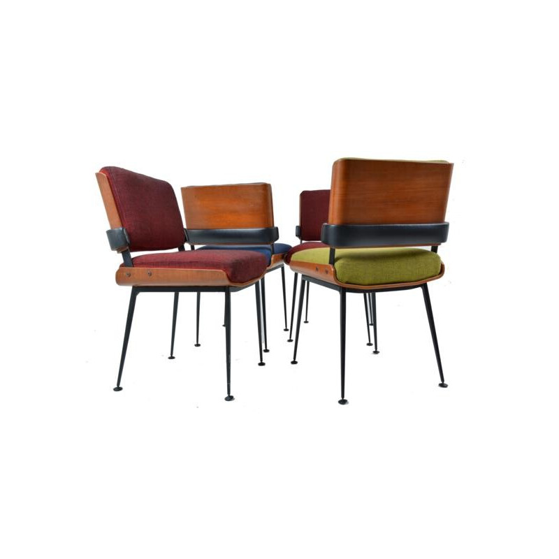 Set of 4 blue, green and bordeaux chairs by Alain Richard - 1960s