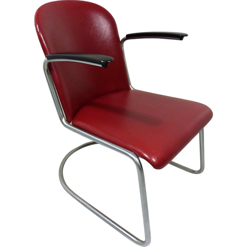 Vintage Tubular Lounge Chair Model 413 by W.H. Gispen - 1950s