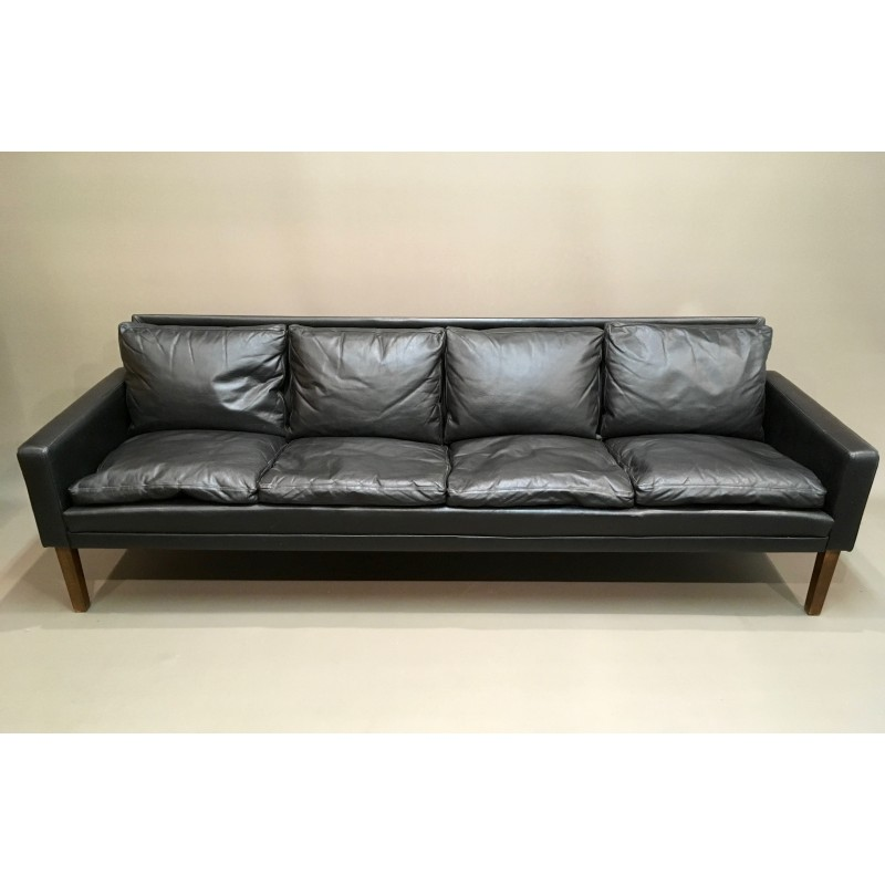 Black Leather Sofa 1960s Vintage Designer Furniture