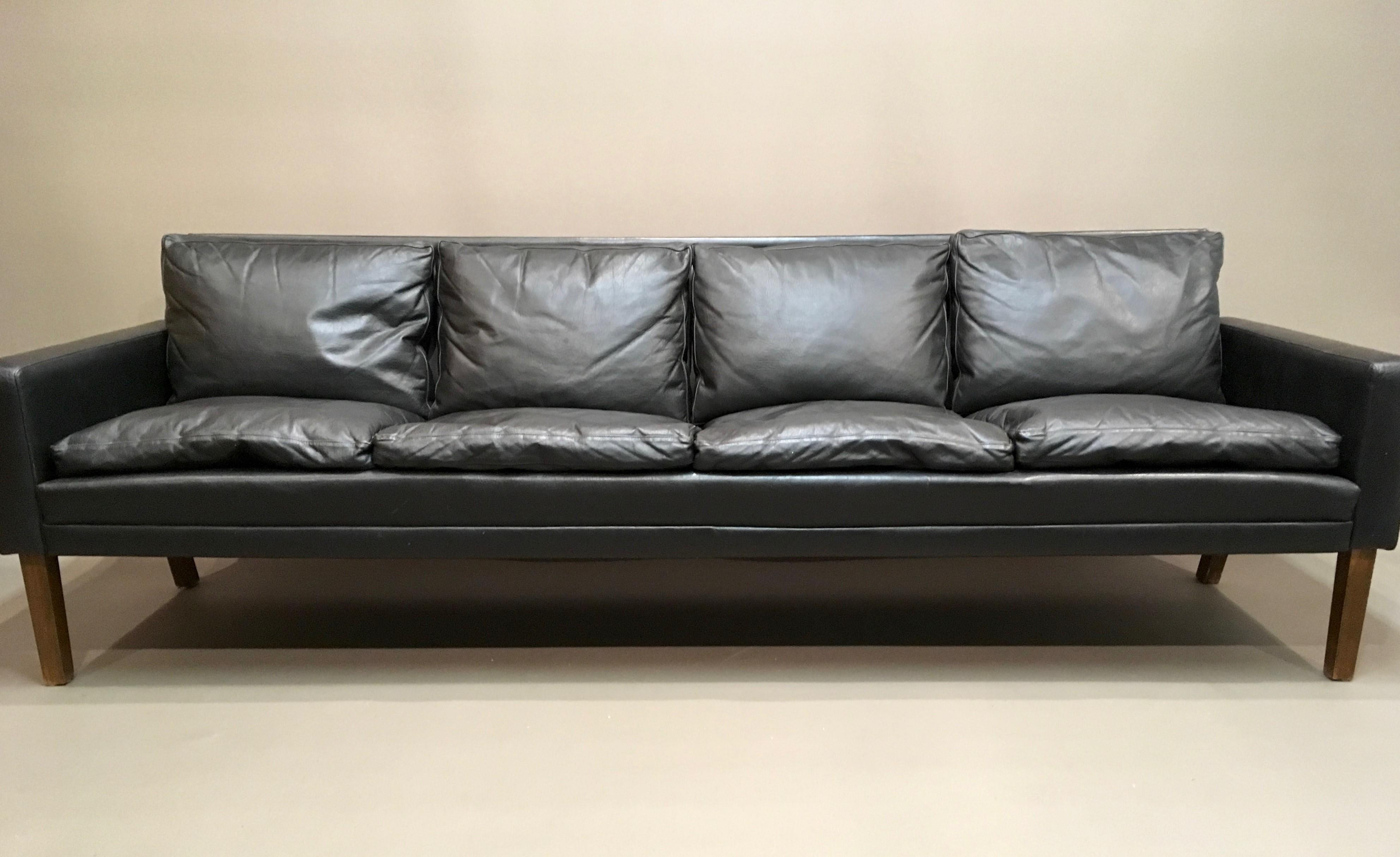 Vintage 4 seater black leather sofa 1960s Design Market