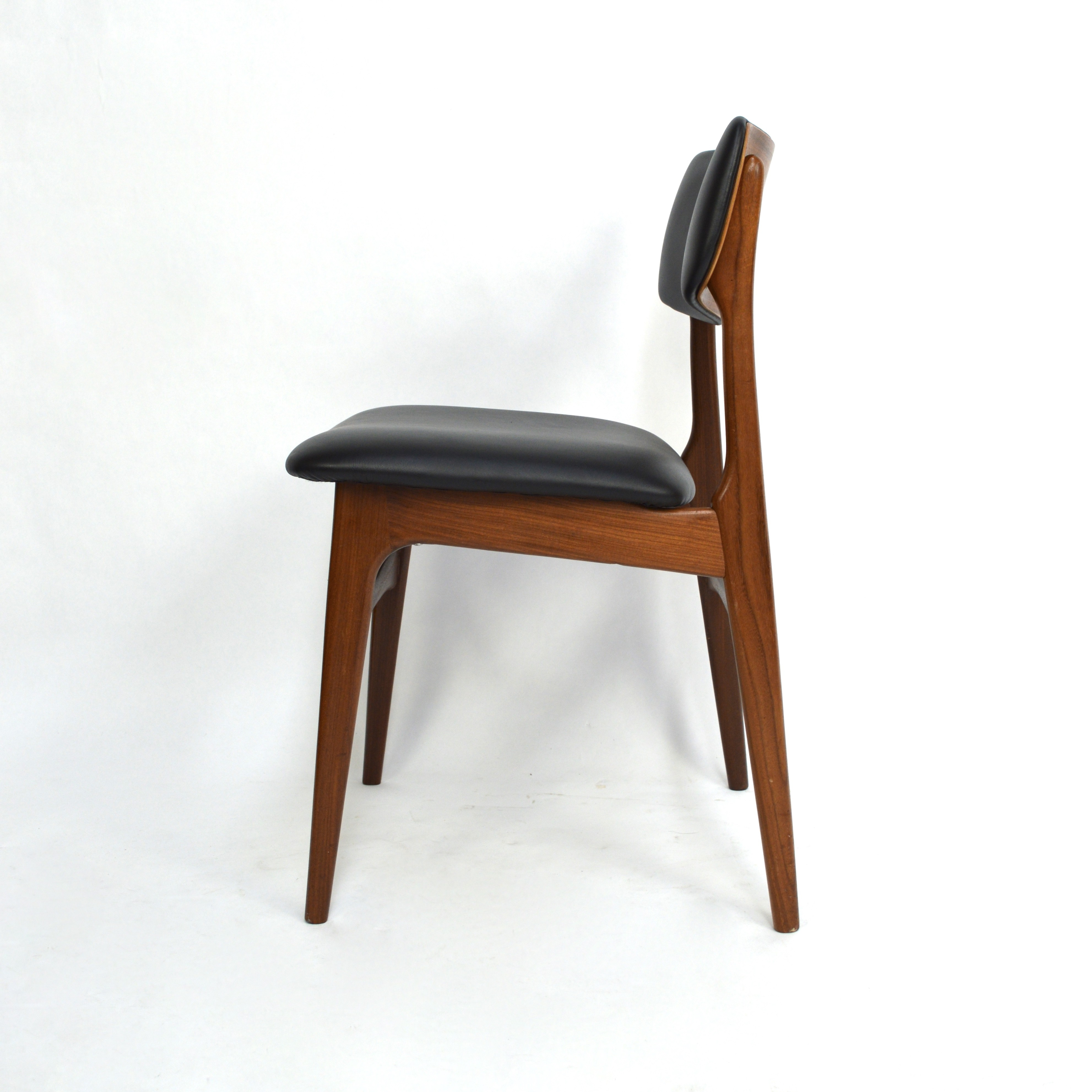 Set of Scandinavian Teak Dining Chairs with New Leather 1960s