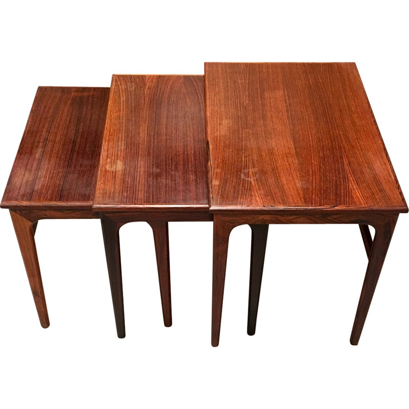 Set of rosewood nesting coffee table - 1950s