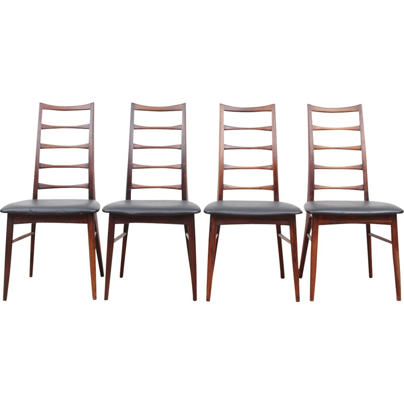 Set of 4 scandinavian Rio rosewood chairs Lis Model by Niels Koefoed - 1950s