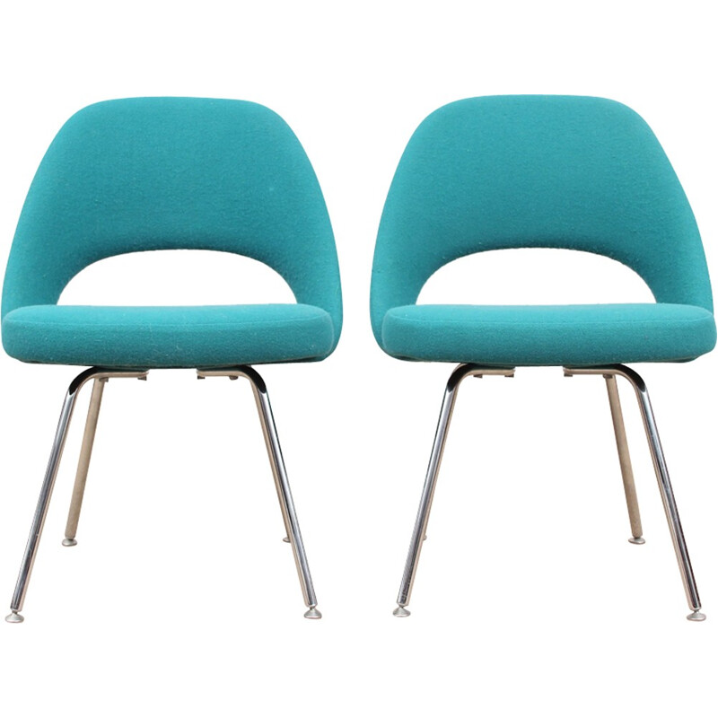 Pair of turquoise blue scandinavian Executives chairs by Eero Saarinen pour Knoll - 1950s