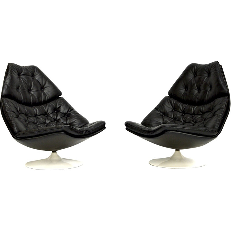 Pair of swivel chairs in black leather by Geoffrey Harcourt - 1960s