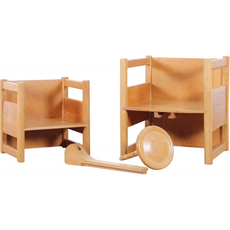 Set Of Scandinavian Multifunctional Table And Chairs For Children 1937 Design Market