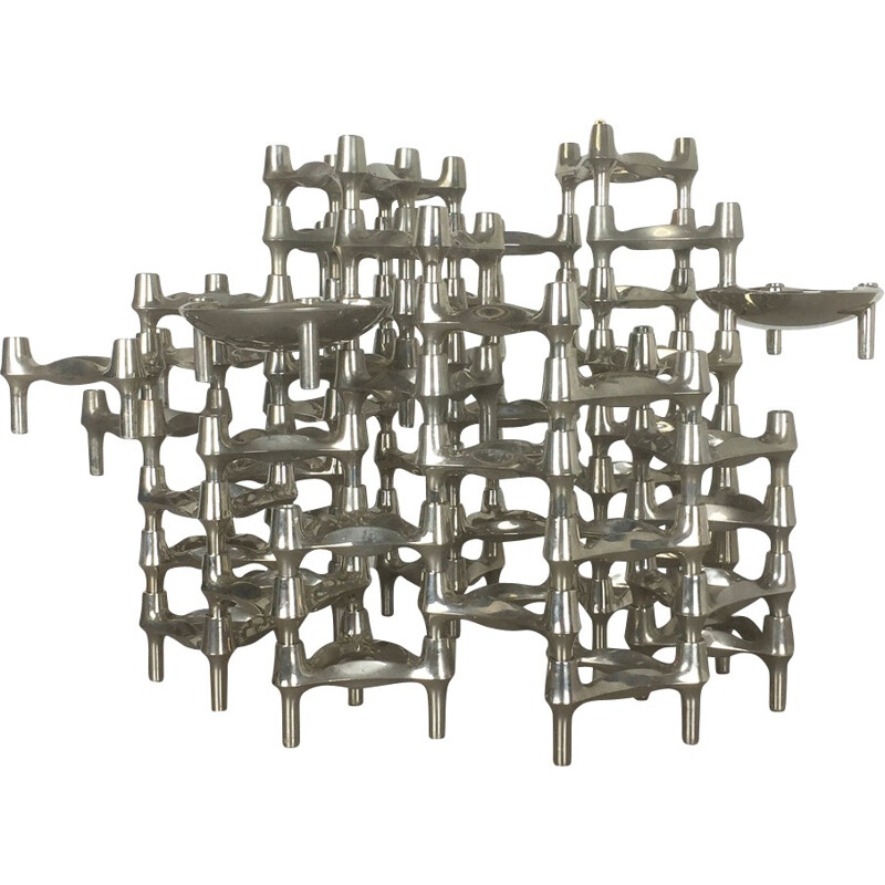 Vintage BMF Nagel Candleholder with 52 elements by Caesar Stoffi - 1970s