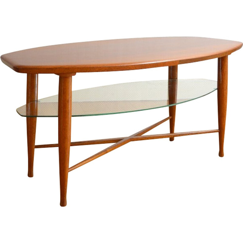 Coffee table vintage with double trays - 1960s