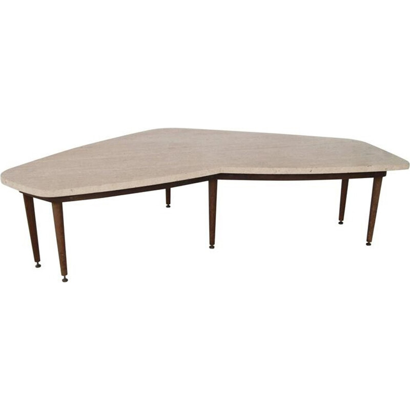 Vintage Coffee Table with Travertine Top - 1950s