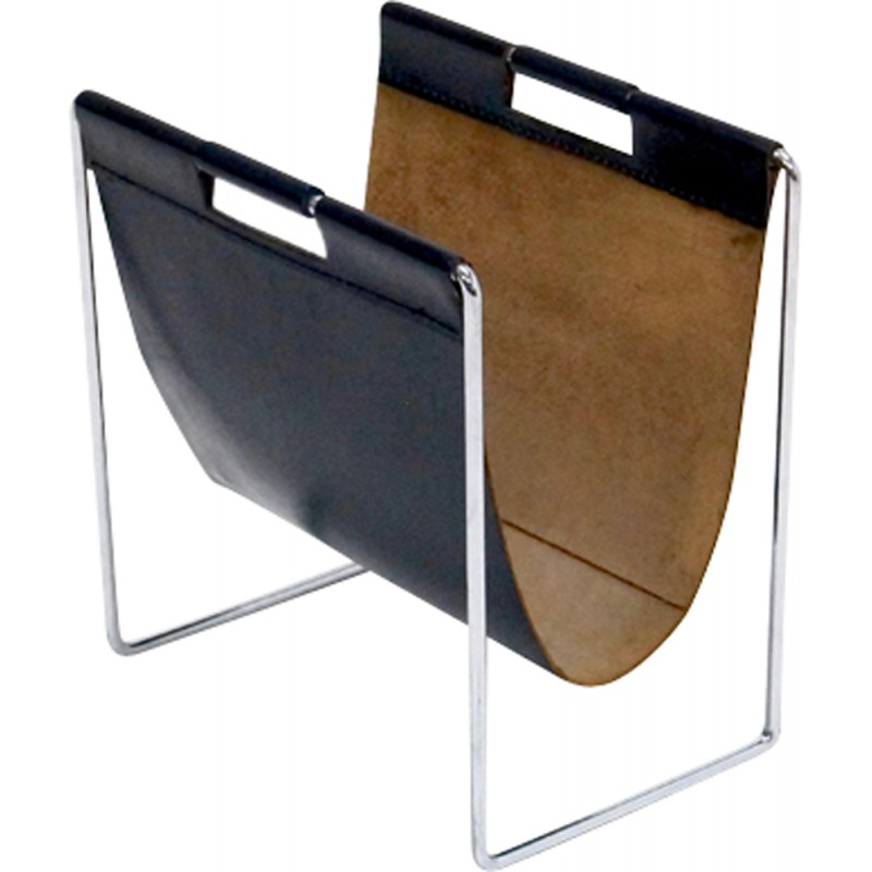 Vintage Magazine Rack In Leather Chrome By Brabantia S - Porte revue design
