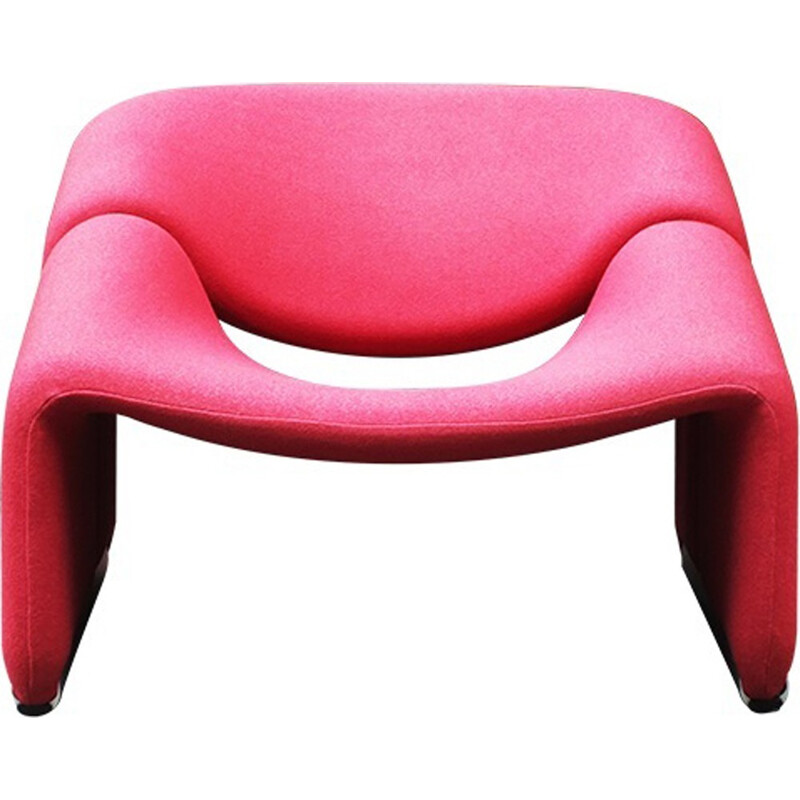 Red Kvadrat fabric Groovy armchair - 1970s