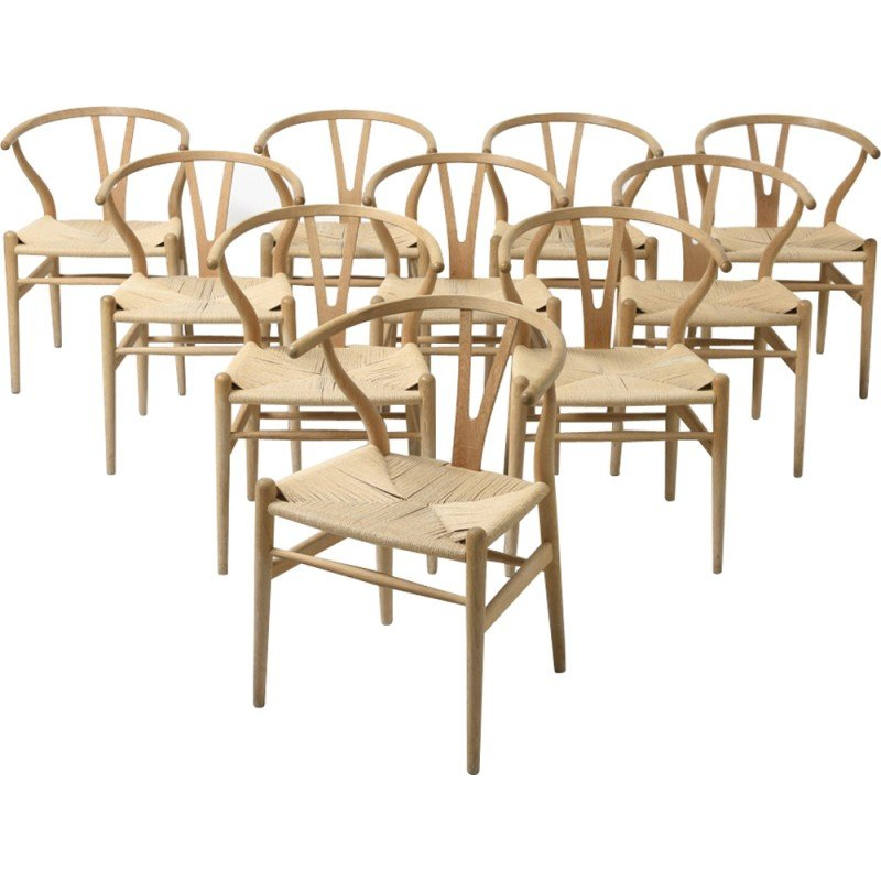 Set Of 10 Wishbone Ch 24 Dining Chairs By Hans J Wegner For Carl