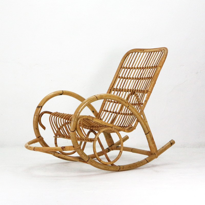 Super Mid Century Rattan Rocking Chair 1960S Gmtry Best Dining Table And Chair Ideas Images Gmtryco