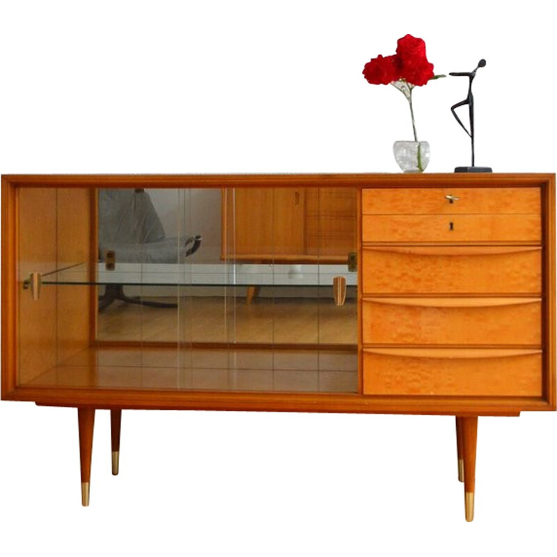 Mid-century Sideboard in wood and glass - 1960s