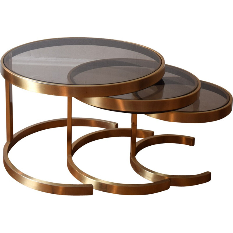 Three nesting tables in metal and glass - 1970s