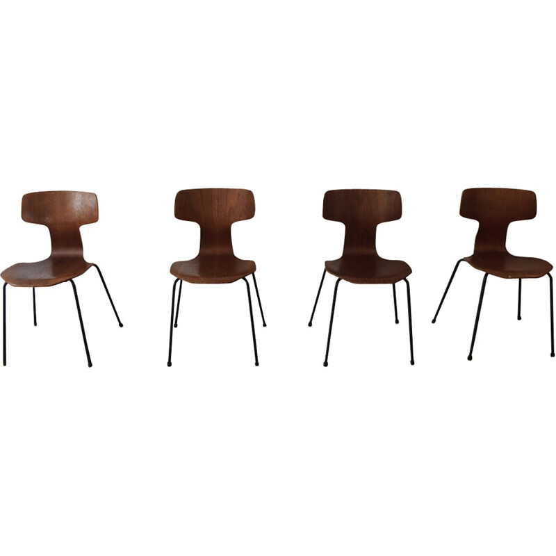 """Set of 4 """"3103"""" chairs by Arne Jacobsen for Fritz Hansen - 1960s"""