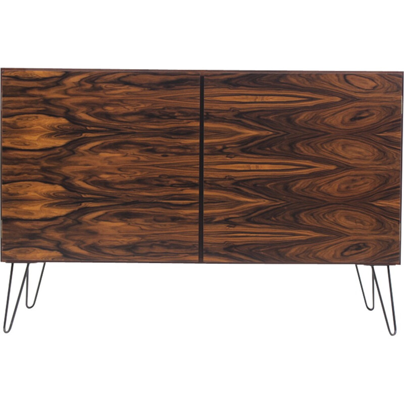 Pair of upcycled rosewood sideboards on spindle legs - 1950s