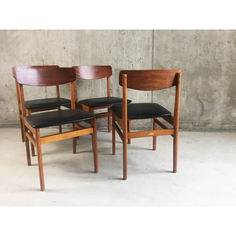 Admirable 4 Czech Black Vinyl And Teak Dining Chairs By Ligna Drevounia 1960S Gmtry Best Dining Table And Chair Ideas Images Gmtryco