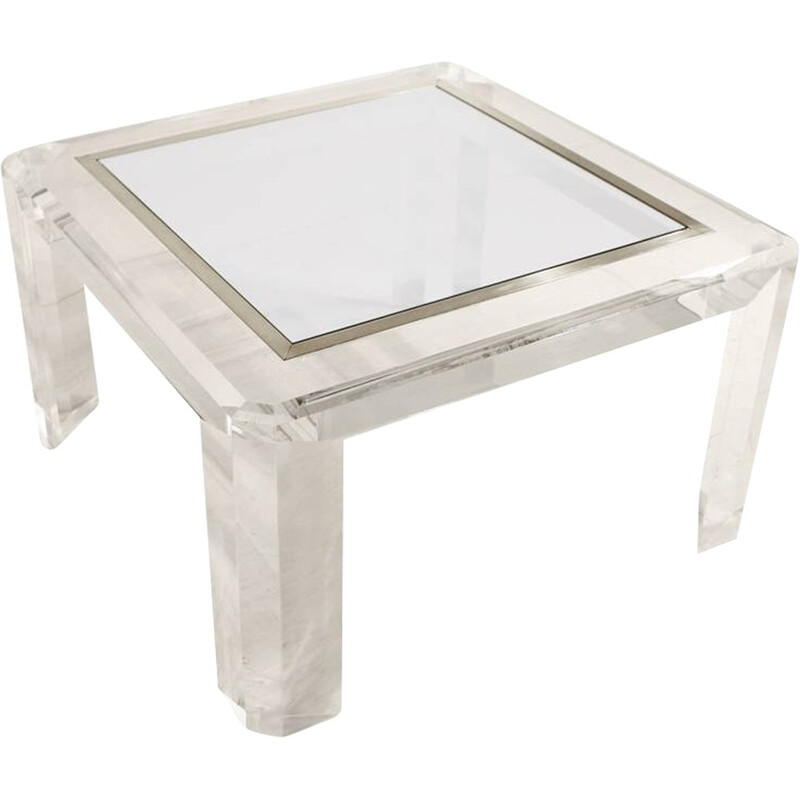 Vintage Lucite, Glass and Brass Coffee Table - 1970s
