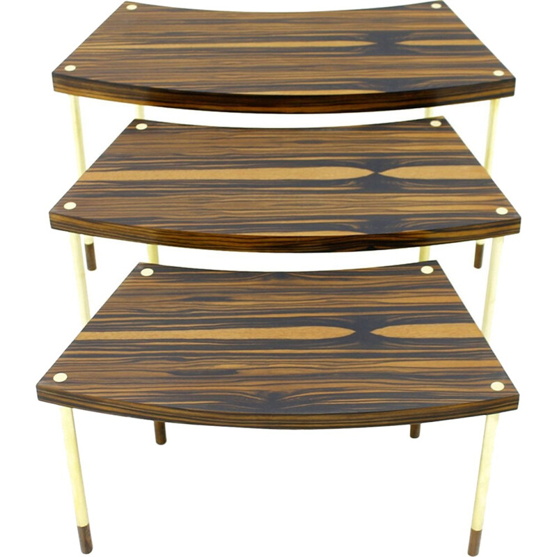 Set of Vintage Nesting Tables in Brass, Macassar and Rosewood - 1970s