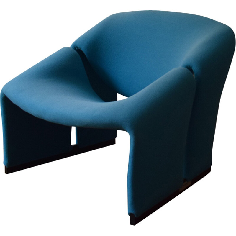"""Groovy"" F580 Blue armchair by Pierre Paulin for Artifort - 1960s"