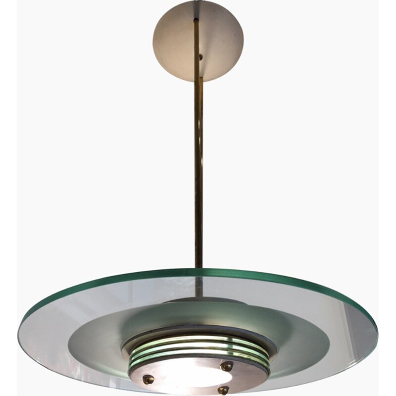 Mid century Ceiling lamp with glass disc for Sirrah - 1960s