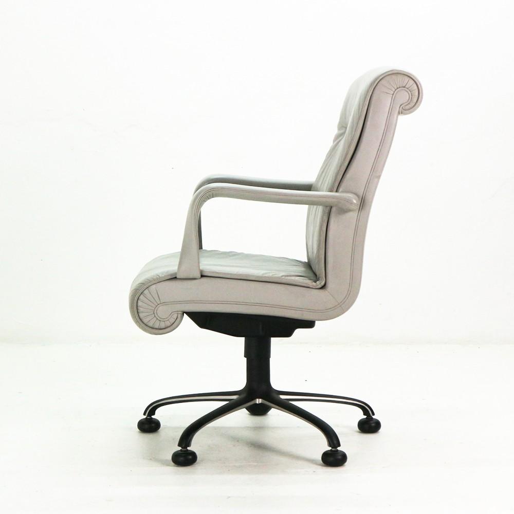 Grey Vintage Poltrona Frau Executive Armchair 1980s Design Market