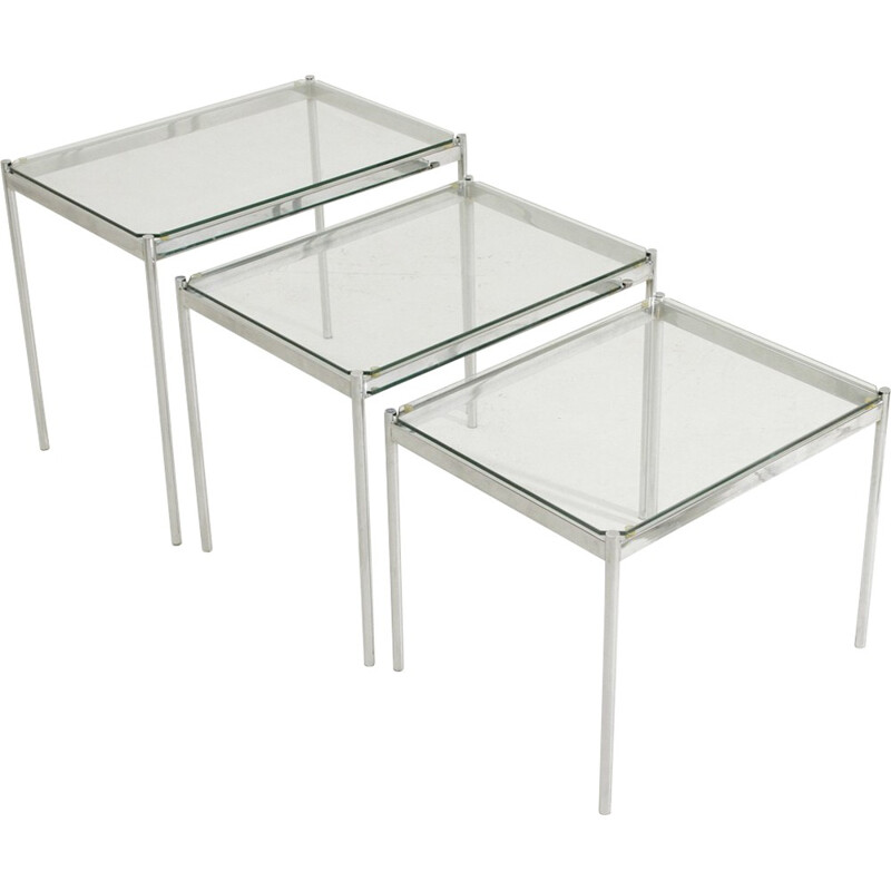 Set of 3 Italian nesting tables - 1970s