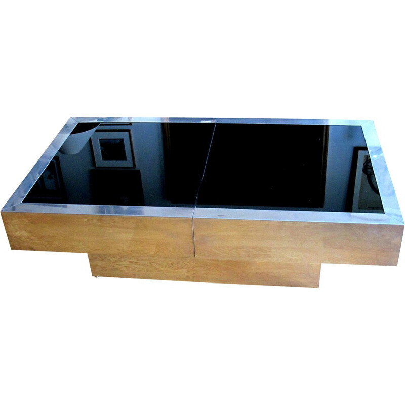 Vintage rectangular coffee table by Willy Rizzo - 1970s