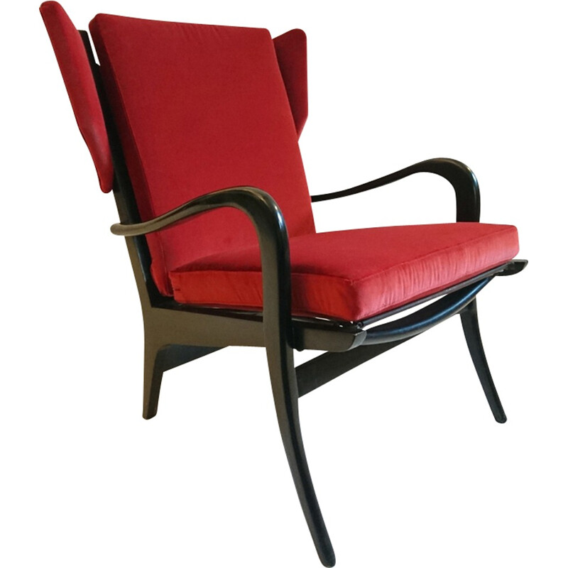 Red wingback Free Span armchair by Pierre Guariche - 1950s