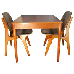 Scandinavian set of 2 chairs and table - 1960s