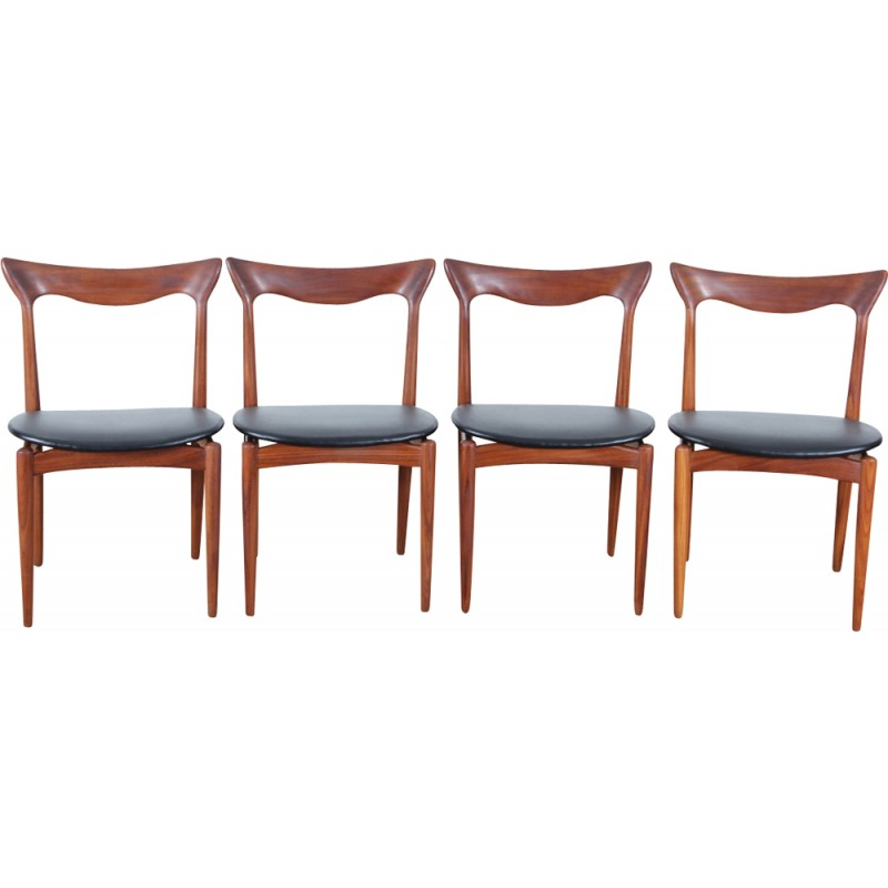 Set of 4 Scandinavian teak chairs - 1960s