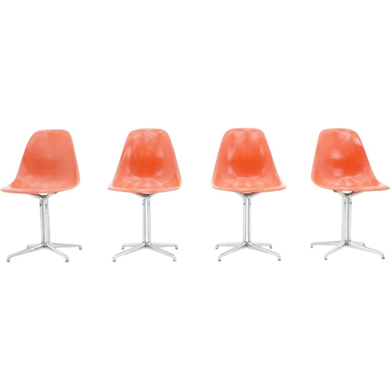Set of 4 fiberglass side chairs with La Fonda Base by Charles & Ray Eames - 1960s