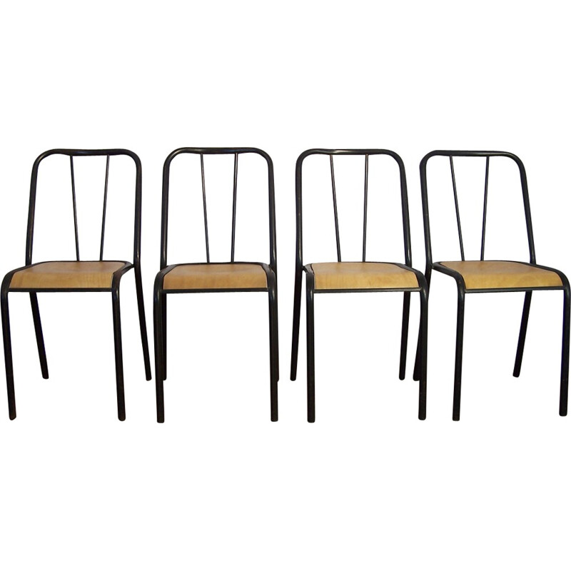 Set of 4 chairs NDS by Jacques Hitier - 1950s