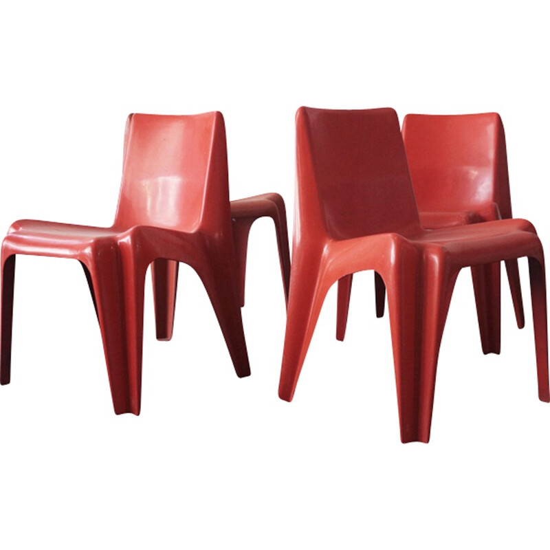 Set of 4 red one-piece chairs by Batzner - 1960s