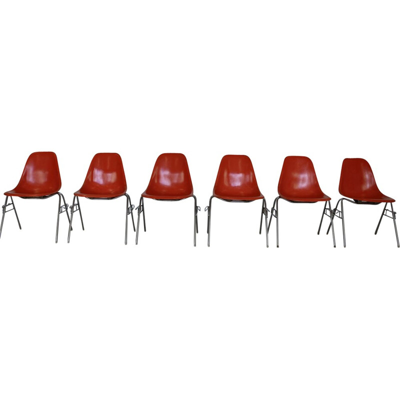 Set of 6 fiberglass shell chairs by Charles and Ray Eames for  Herman Miller - 1960s
