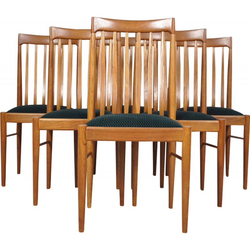 Green Danish Teak Dining Chairs By H. W. Klein For Bramin   1960
