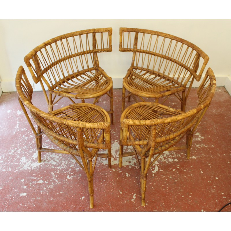 French Vintage Rattan Chairs   1950s
