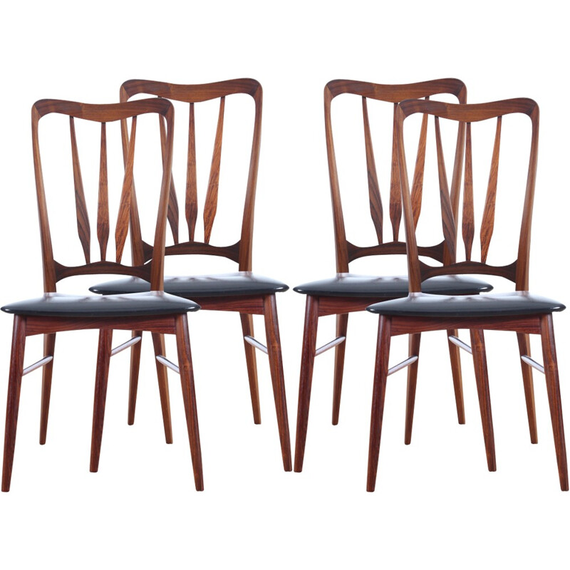 Set of 4 Ingrid Rio rosewood chairs by Niels Koefoed - 1960s