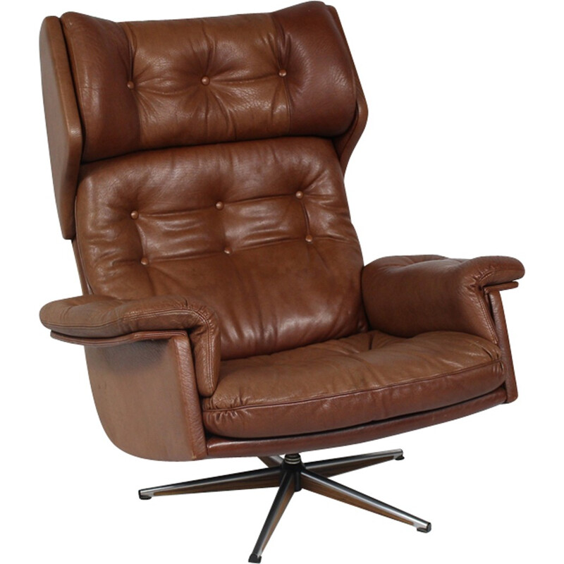 Vintage leather swivel armchair - 1960s