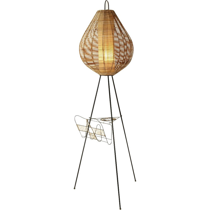 Tripod floor lamp with cane diffusor - 1950s