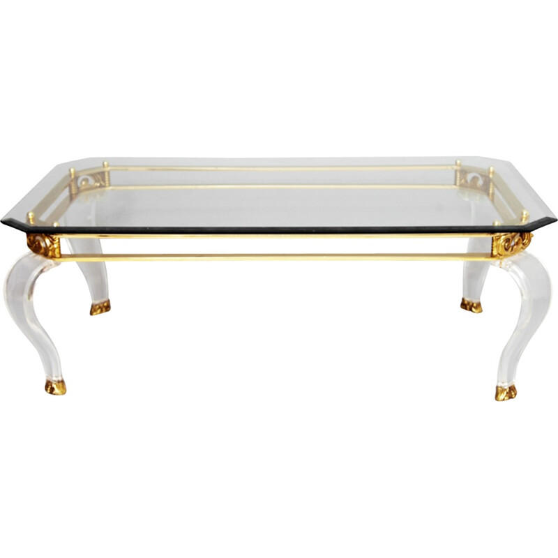 Brass & Curved Lucite Legs Coffee Table - 1960s