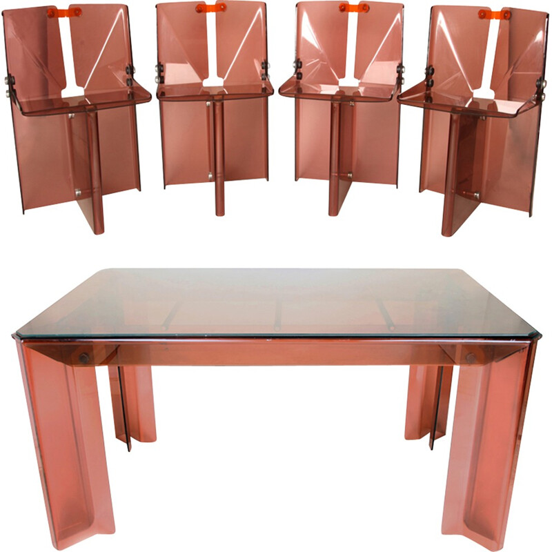 Unique Smoked Perspex Dining Table & Chairs by Michel Ducaroy - 1970s