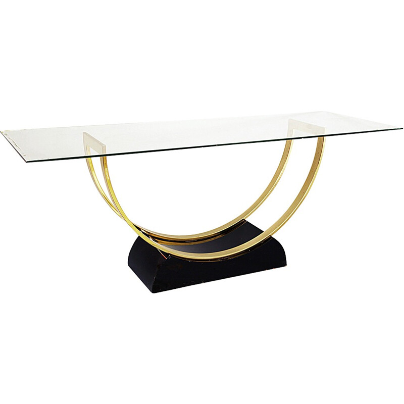 Elegant Black Lacquered And Brass Console Table - 1970s