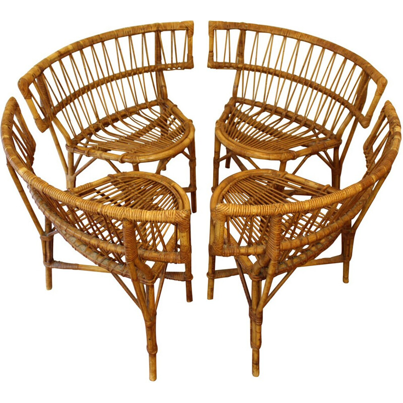French vintage rattan chairs - 1950s