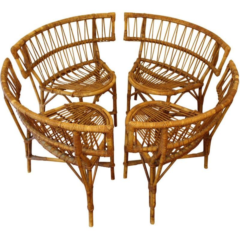 Beau French Vintage Rattan Chairs   1950s