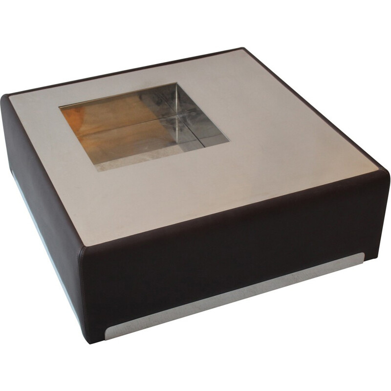 Vintage Coffee Table in inox and leather - 1970s